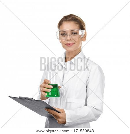 Female scientist with clipboard and flask on white background