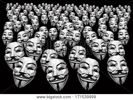 Anonyomous Activists Demonstration Vector  Masks On Black  Background