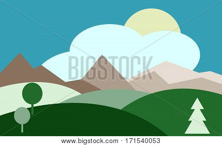 Landscape with hills, sky, sun. Countryside. vector illustration.