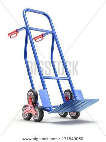Blue stair climbing hand truck with six wheels - 3D illustration