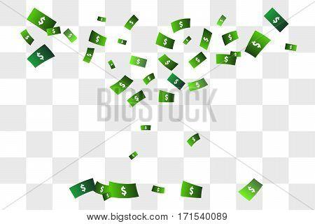 Confetti of dollars. Rain of money. Vector illustration.