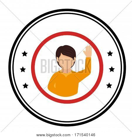 color circular frame with student boy vector illustration