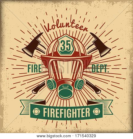 Vintage firefighting label with fireman rescue mask crossed axes and ribbon isolated vector illustration