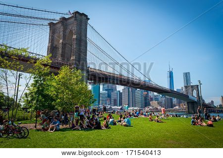 Crowd enjoying the fun family day and picnic under the Brooklyn Bridge in Brooklyn Bridge park on Aug 11th, 2013.