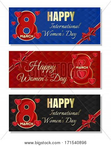 Set of abstract vector multicolored christmassy backgrounds for Women's Day. Happy International Women's Day. 8th March. Women's Day card template