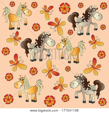 Funny horse in a meadow. Baby pictures. Cartoon characters. Design for a card, textiles, children's book, the background image.