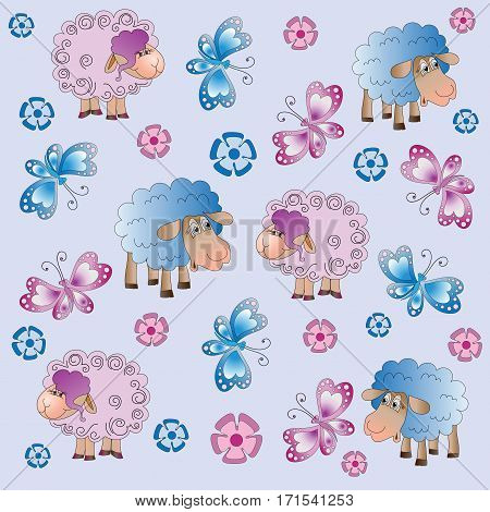 Sheep, flowers and butterflies. Baby pictures. Cartoon characters. Design for a card, textiles, children's book, the background image.