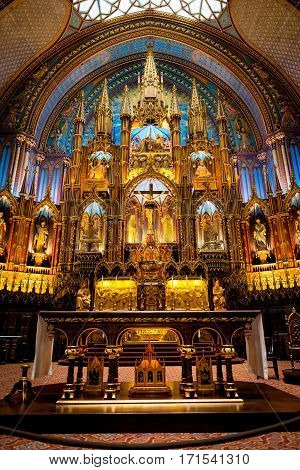 Interior of the historic Notre Dame church in old Montreal of Canada on Sept 2014.
