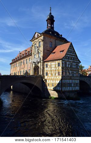 Old Town Hall, on river, in Bamberg. Germany