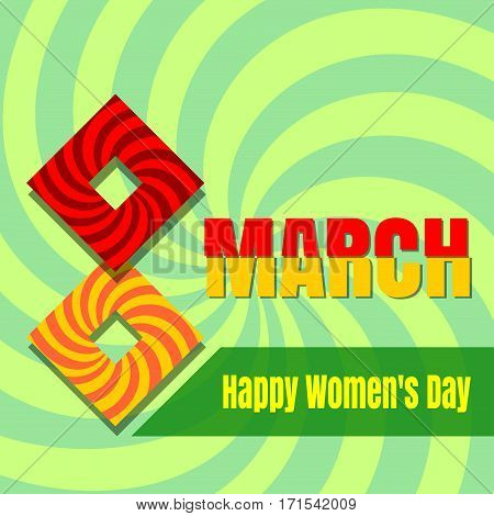 Retro Women's Day card. 8th March. Vintage background for Women's Day. Vector illustration