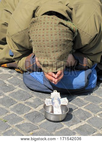 Beggar on the street, people in poverty, Rome