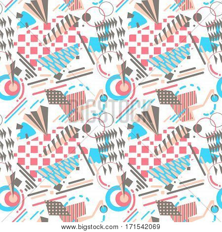 Abstract geometric seamless pattern in bright colors. Simply forms and silhouettes- strikes square triangle circles. Background for textille and wrapping paper.