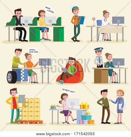 Helpline service set with operators in headset of different professions consulting people isolated vector illustration