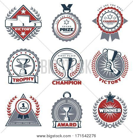 Colorful sport prizes labels set with different rewards trophies and pedestal in vintage style isolated vector illustration