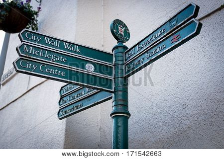 Street sign by the train station in York Town of United Kingdom in Jan 2014.
