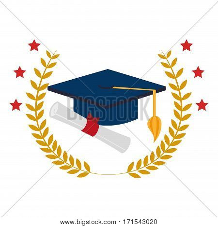 crown leaves with graduation cap and certificate vector illustration