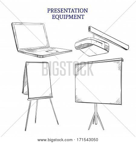 Business presentation equipment sketch elements set of laptop projector whiteboard on tripod and flipchart isolated vector illustration