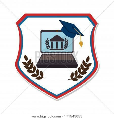 shield emblem with graduation cap and laptop vector illustration
