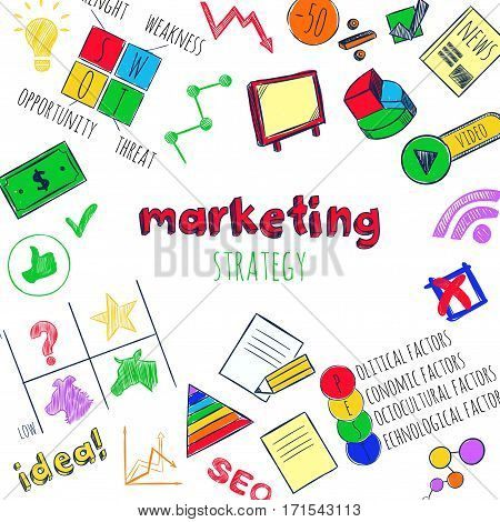 Sketch marketing strategy infographic concept with colorful business icons and elements isolated vector illustration
