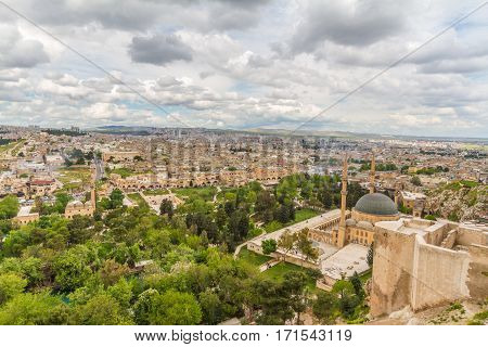 Photo of a Urfa taken from the city castle at a cloudy day.