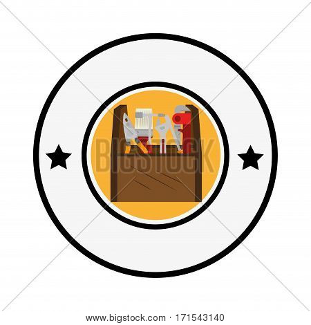 circular border with color silhouette toolbox and decorative stars vector illustration