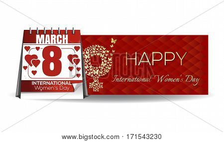Women's Day card. March 8. Gift box. Happy International Women's Day. Womens holiday. Number eight, consisting of golden butterflies flying on a red background. Vector banner, illustration