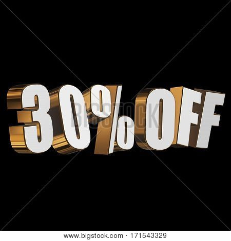 30 percent off letters on black background. 3d render isolated.