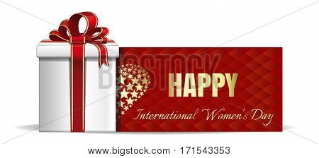 Women's Day card. Gift box on the background of a greeting card. Happy International Women's Day. Vector banner