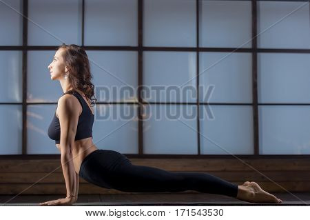 Young attractive woman practicing yoga, standing in upward facing dog exercise, Urdhva mukha shvanasana pose, working out, wearing black tank top, pants, indoor full length, evening practice