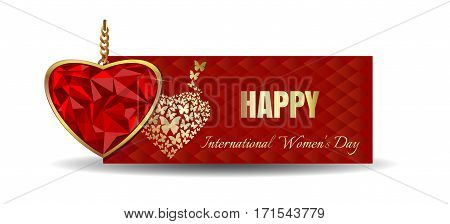 Vector banner for Women's Day. Heart shaped gemstone set in gold. Jewel in the shape of heart in gold frame. Diamond heart on the background of a greeting card for International Women's Day
