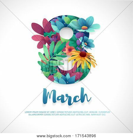 Banner for the International Women's Day. Flyer for March 8 with the decor of flowers. Invitations with the number 8 in the style of cut paper with a pattern of spring plants, leaves and flowers