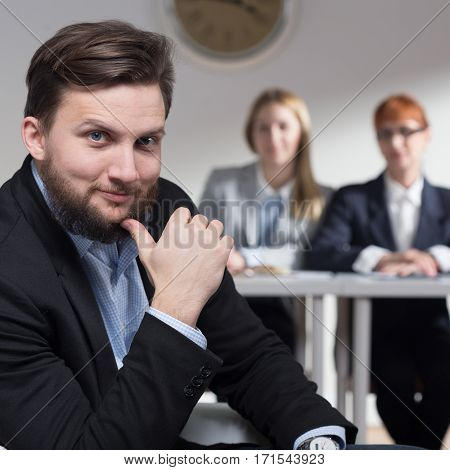 Confident Man Waiting For Job Interview