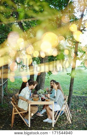 Group of buddies gathered by served festive table in natural environment