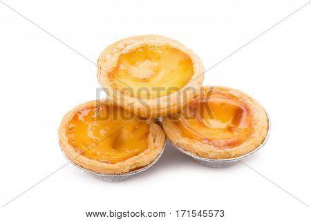dessert egg tart sweet custard pie isolated on white background