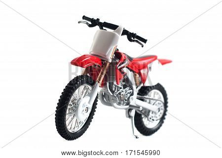Red Motorcycle Toy Red Isolated On White Background,