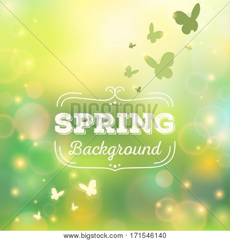 Spring background vector illustration with bokeh lights