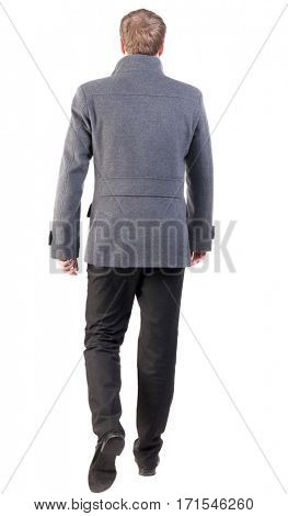 Back view of going  handsome business man in coat.  walking young businessman . Rear view people collection.  backside view of person.  Isolated over white background. poster
