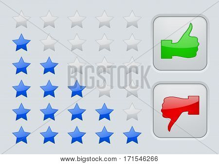 Rating stars. Interface element. Like buttons. Vector illustration