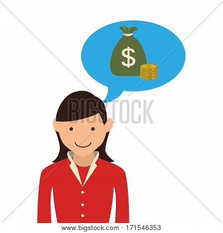 woman with dialog callout box with bag money vector illustration