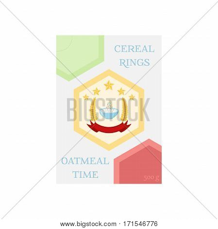 Cereal rings in box. Oatmeal breakfast with milk, organic muesli. Flat vector style.