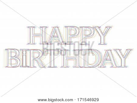 Vector word Happy Birthday, linear and clear style