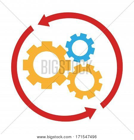 colorful arrow circular shape with silhouette gear wheel icon vector illustration