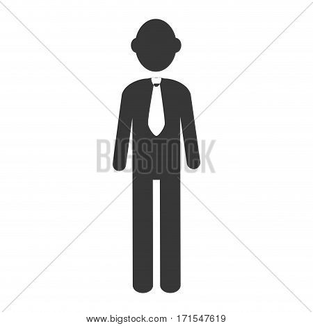 silhouette executive man with necktie vector illustration