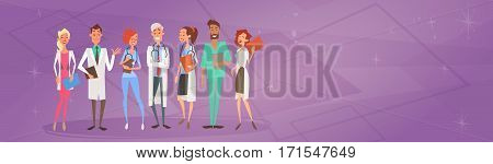 Group Medial Doctors Team Clinics Hospital Flat Vector Illustration