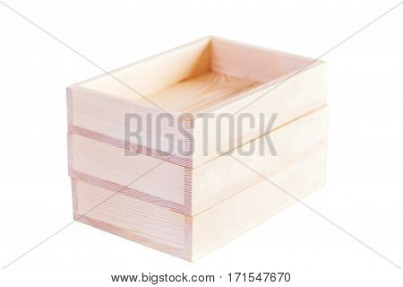 three accurate natural wooden boxes on white background