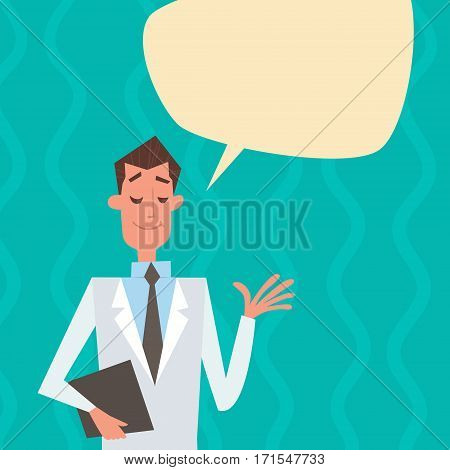 Medial Doctor Chat Bubble Social Network Communication Clinics Hospital Flat Vector Illustration