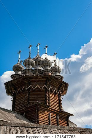 Transfiguration Church in Kizhi in lake Onega wooden dome of the small fake plates