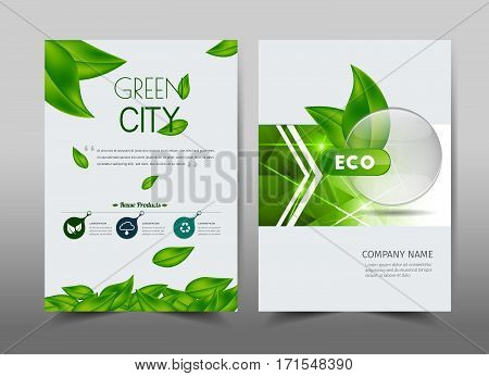 Green ecology design on background.Brochure template layout cover design annual report magazine leaflet presentation background flyer design.and booklet in A4 with Vector Illustration.