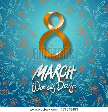 March 8 Greeting Card. International Womans Day. Vector. Blue Background. Flower Tulip