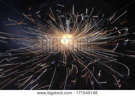 Long exposure photography of firework  at night